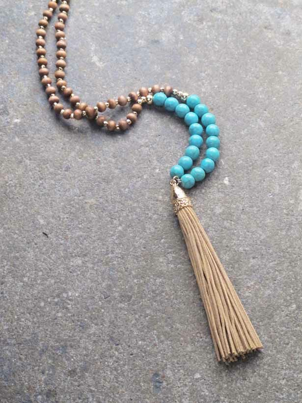 Famous Trend Long turquoise bead tassel necklace - Bobbles and Lace NR82