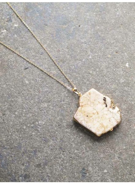 Stone Long gold stone necklace