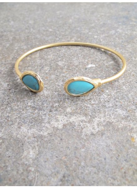 Gold Brushed gold and turquoise stone bangle