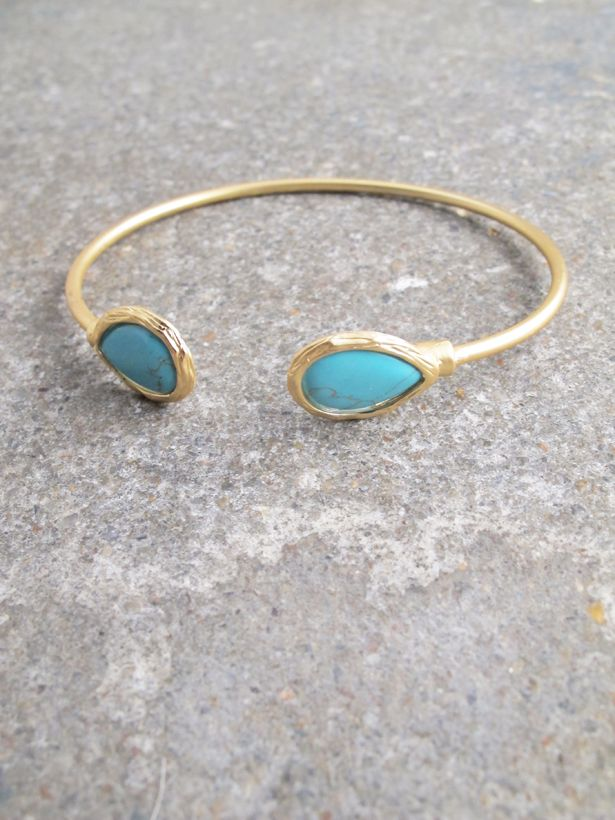 Gold Brushed gold and turquoise stone bangle Bobbles and Lace