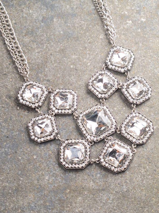 Dressy Rhinetsone web statement necklace