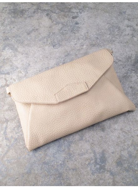 Clutch Taupe pebbled envelope clutch