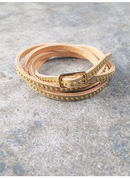 Leather Microstud wrap bracelet
