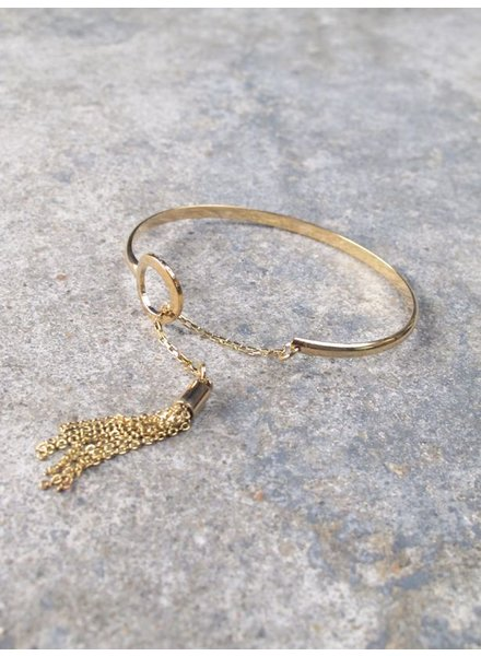 Gold Dainty gold tassel bangle