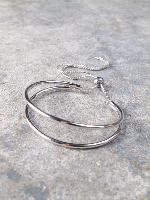 Silver Double silver chain cuff