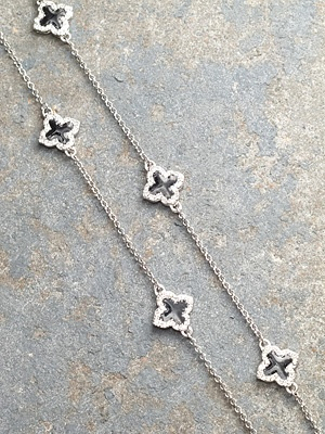 Long Silver and black clover necklace