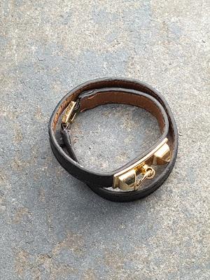 Leather Black Skinny Stud Bracelet