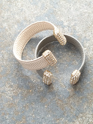 Leather Leather and rhinestone cuff