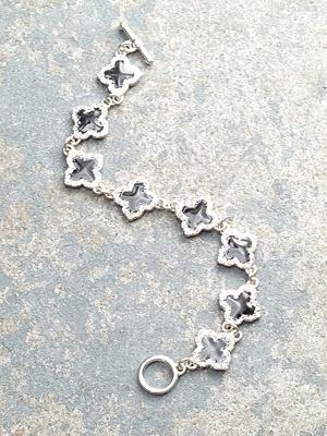 Designer Silver and black clover bracelet