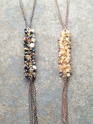Long Beaded and fringed long pendant