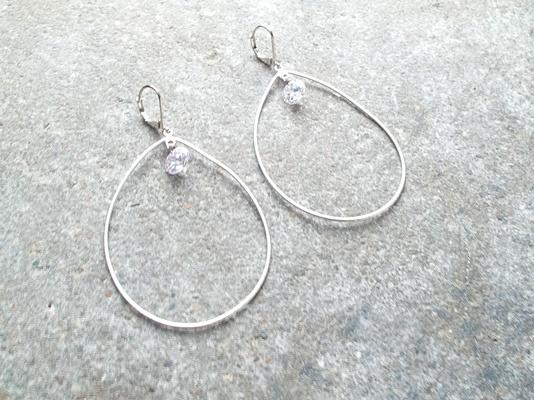 Silver Crystal drop hoop