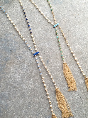 Stone Long beaded lariat