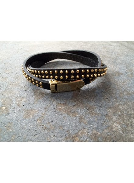 Leather Black double wrap bracelet