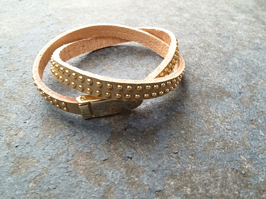 Leather Tan double wrap bracelet