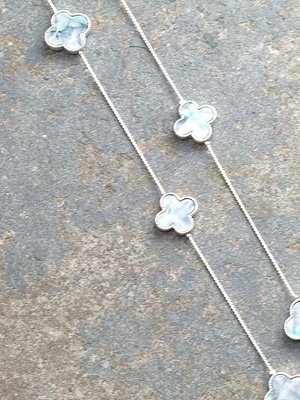 Long Silver abalone clover necklace