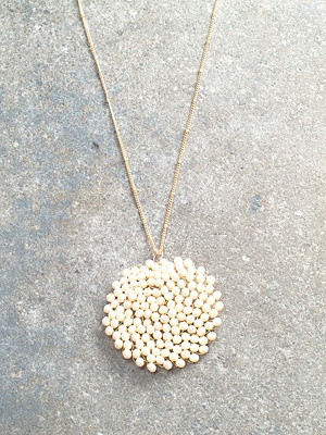 Stone Long beaded disc necklace
