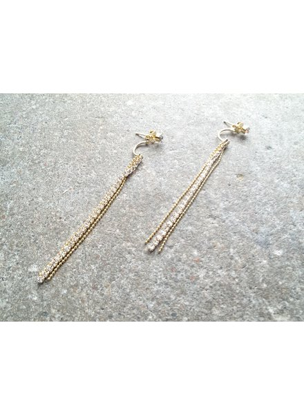 Gold Gold and rhinestone triple dangle