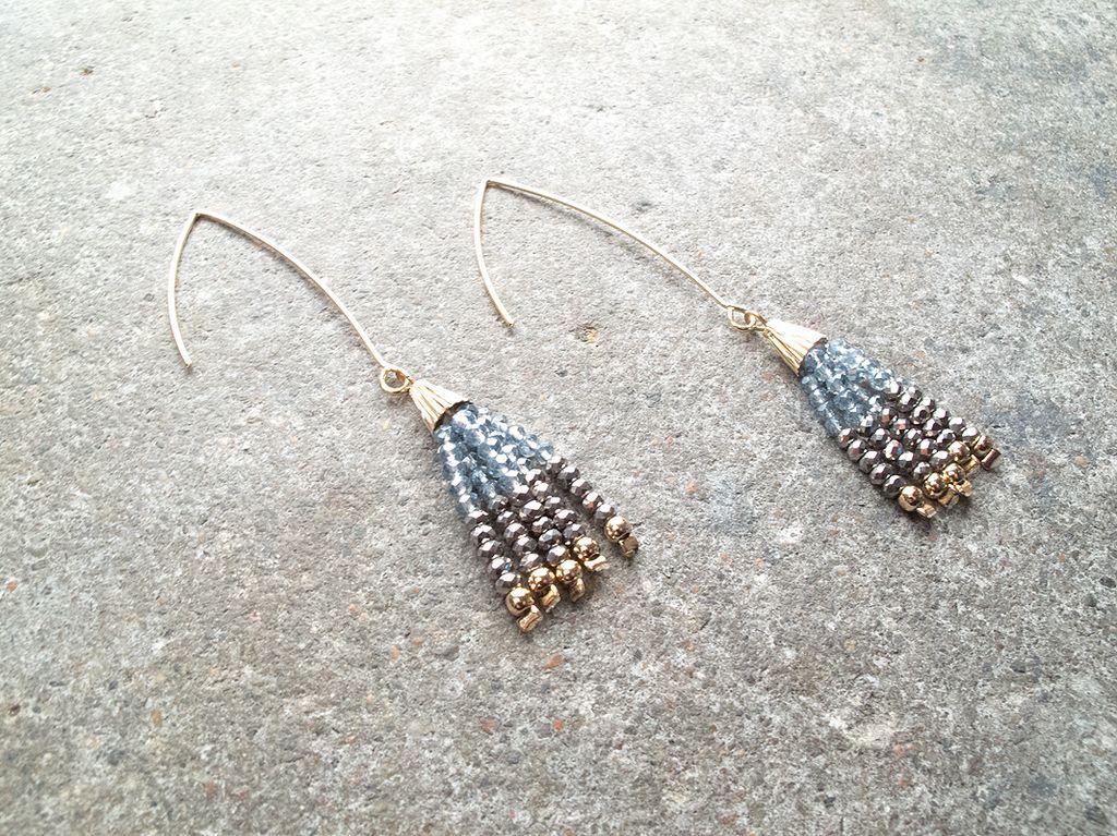 Stone Dangle bead gold hook earrings (Peach & Blue)