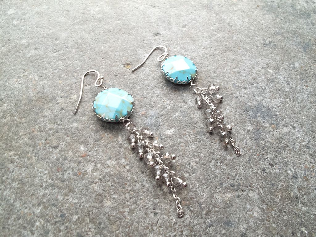 Stone Earring With Dangling Beads