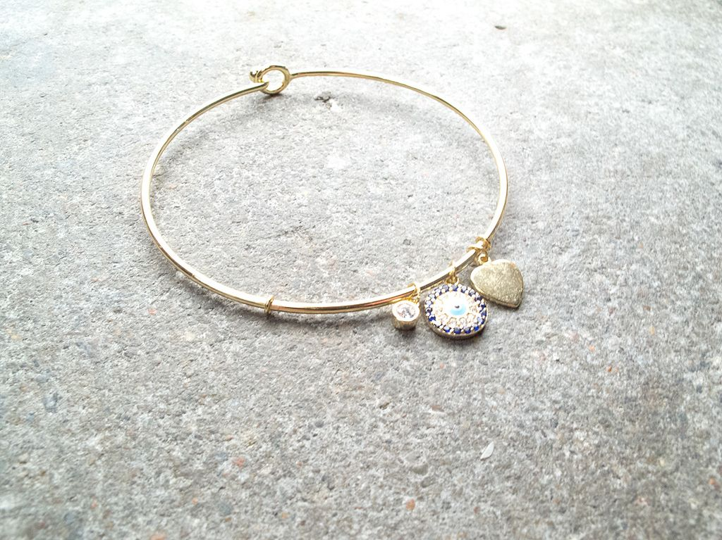 Sterling Gold sterling blue evil eye bracelet