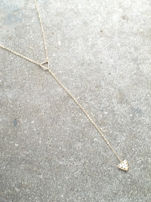 Gold Gold double open triangle long necklace