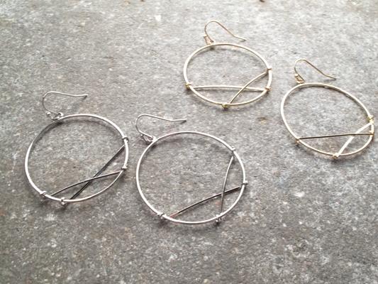 Silver X dangle hoop earring