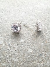 Sterling Sterling pave trim studs