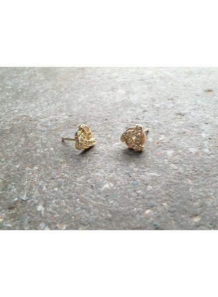 Stud Small gold rhinestone knot