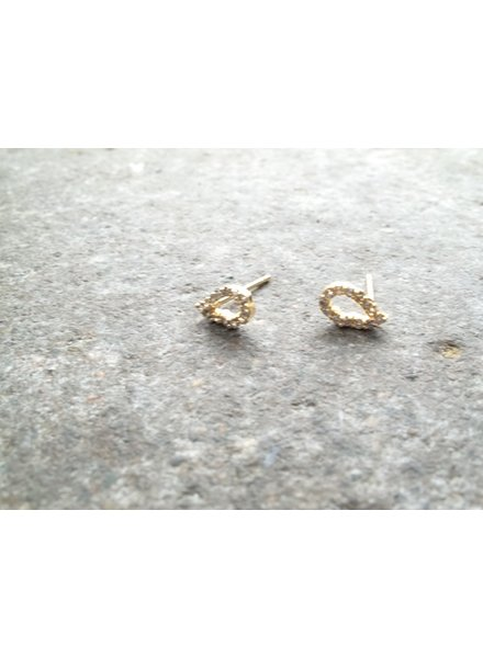 Stud Small gold rhinestone oval