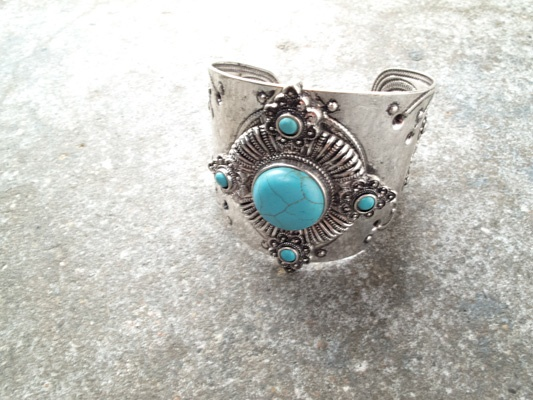 Silver Silver and turquoise cuff