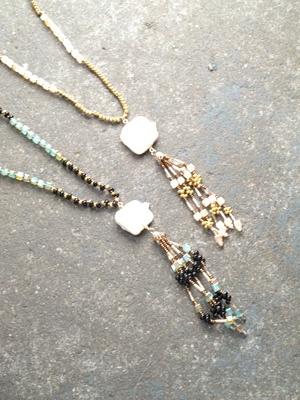 Stone Long beaded tassel with opal stone