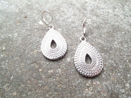 Silver Textured tear drop