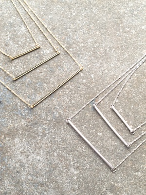 Gold Triple bar necklace