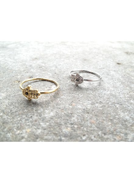 Gold Mini hamsa hand ring