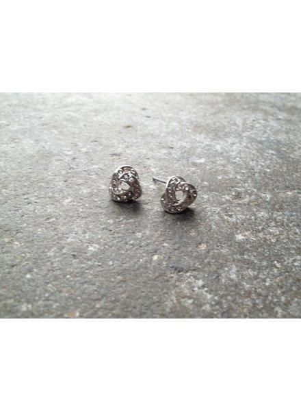 Silver Rhinestone knot stud