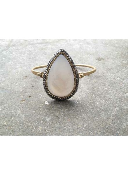 Gold Opal teardrop bangle