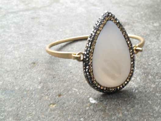 Gold Opal teardrop bangle