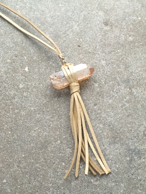 Leather Leather wrapped rock necklace