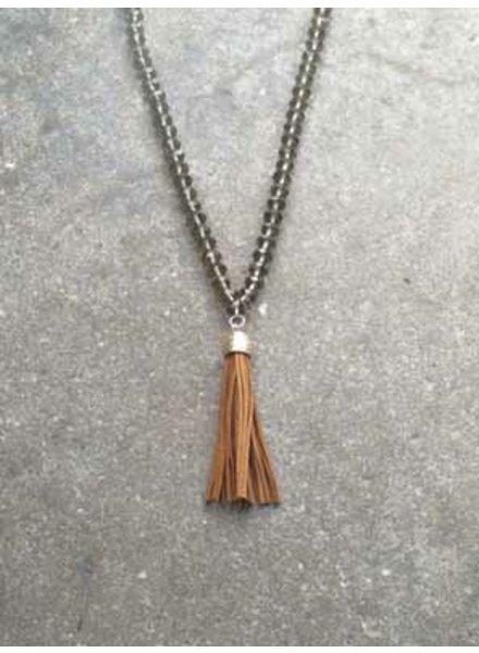 Long Glass beaded tassel necklace