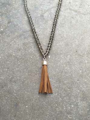 Long Glass beaded tassel necklace