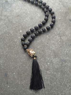Long Volcanic lava stone Buddha necklace
