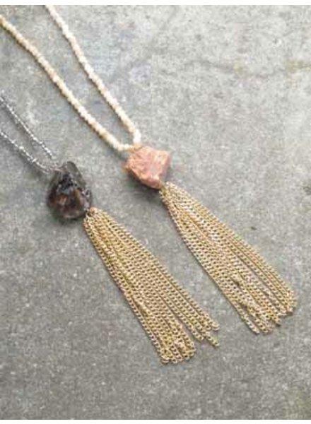 Long Beaded rock fringe necklace