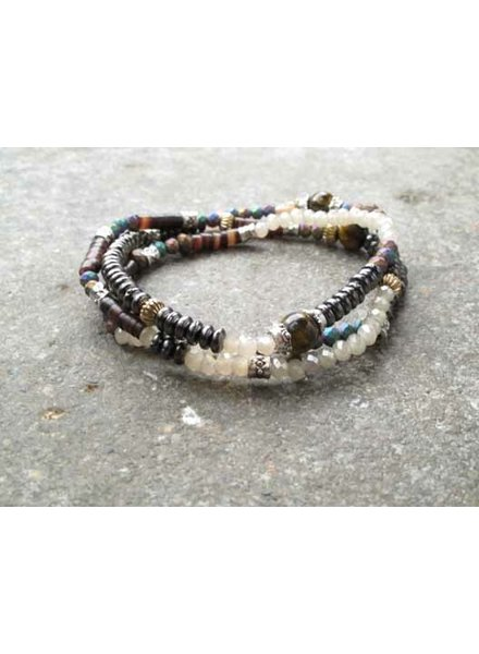 Stone Triple wrap beaded bracelet
