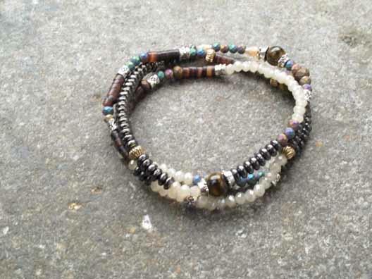 Stone Triple wrap beaded bracelet