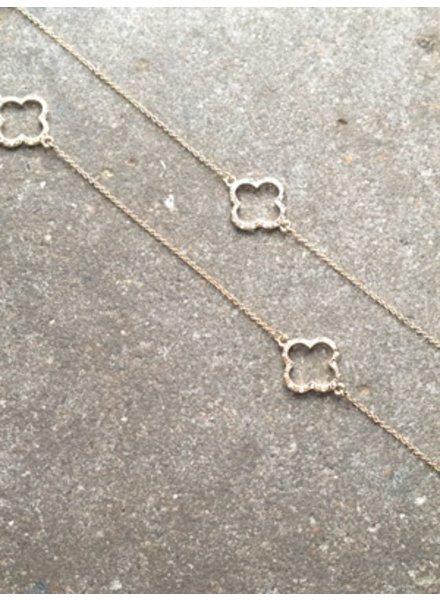 Long Open sparkle clover necklace