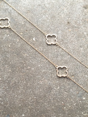 Long Open sparkle clover necklace