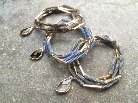 Stone Gold and bead wrap bracelet *3 COLORS