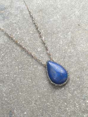 Stone Long teardrop stone necklace