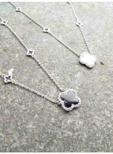 Silver Dainty rhinestone clover necklace