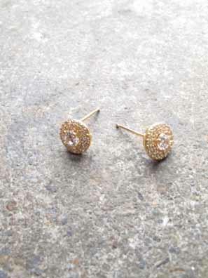 Stud Gold pave and rhinestone studs